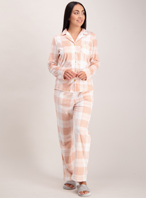 Peach Check Print Fleece Pyjamas