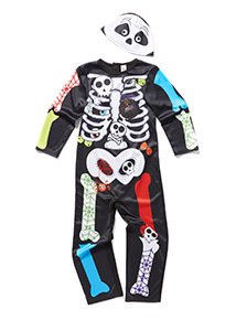 Multicoloured Halloween Skeleton Costume with Mask (6 months-6 years)