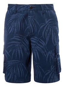 Navy Pam Tree Print Cargo Shorts