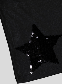 Black Sequin Star Top (3-14 years)