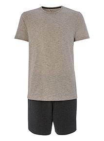Grey and White T-shirt and Shorts Pyjamas