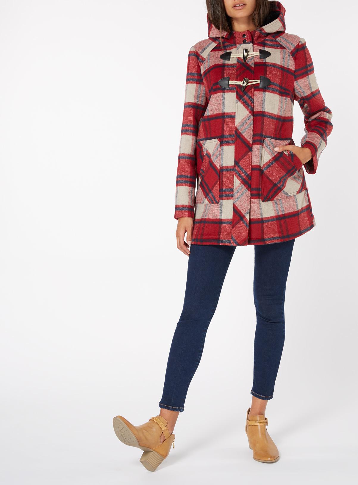 Womens Red Check Duffle Coat | Tu clothing