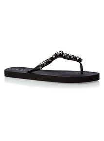 Black Faceted Flip Flops