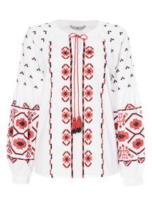 Voodoo Embroidered Sleeve Top