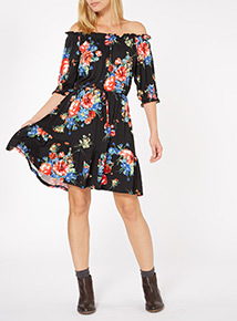 Multicoloured Off-The-Shoulder Waisted Midi Dress