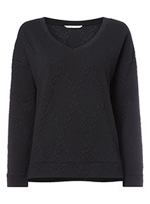 Black Quilted V-Neck Sweat