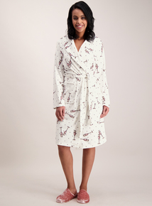 Cream Prosecco Print Dressing Gown