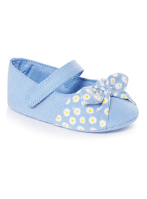 Blue Chambray Daisy Pumps (0-24 months)
