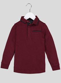Burgundy Long Sleeve Polo Shirt (3-14 years)