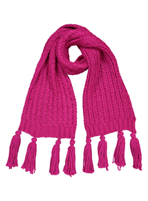 Bright Pink Knitted Scarf