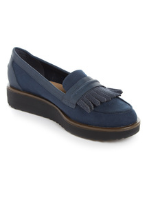 Navy 'Sole Comfort' Wedge Loafers