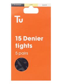 Black 15 Denier Tights 5 Pack