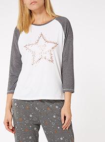Cream Glitter Star Long Sleeve Pyjama Tee