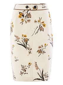 Cream Floral Print Textured Pencil Skirt