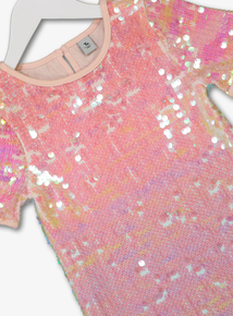 Multicoloured Sequin Short-Sleeved Dress (3- 14 years)