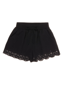 Girls Black Laser Cut Shorts (3 - 12 years)