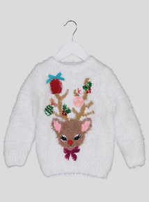 Christmas Reindeer Light & Sound Multicoloured Jumper (3-14 Years)
