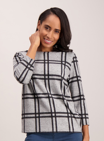 Grey Check Knit-Look Top
