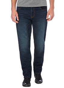 Mid Wash Straight Denim Jeans