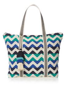Multicoloured Zigzag Canvas Bag