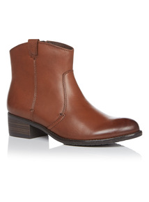 Tan Leather Low Western Boots