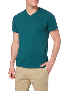 Online Exclusive Green V-neck T-shirt