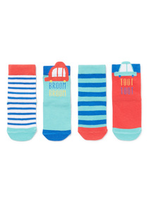 4 Pack Multicoloured Transport Socks (0-24 months)