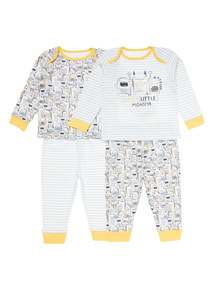 Multicoloured Two Pack Monster Pyjama Set (3-24 months)