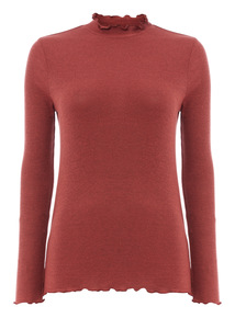 Brown Roll Neck Tee