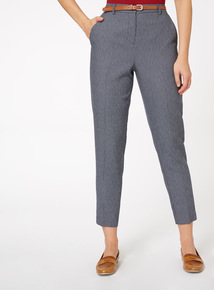 Belted Taper Pindot Trousers