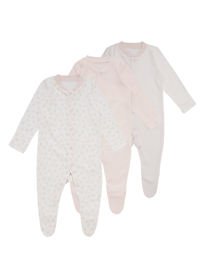 b93fdfef4233 Baby Pink Sleepsuits 3 Pack (Tiny Baby-24 months)
