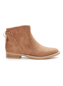 Tan Lace Bow Boots