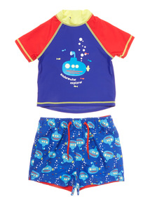 Boys Multicoloured Submarine Shorts and Rash Vest (9 months - 5 years)