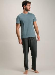 Teal & Charcoal Jersey Pyjamas