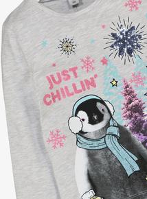 Christmas Grey Penguin Long Sleeve Top (3-14 years)