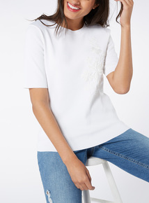 Online Exclusive White Floral Embroidered Top