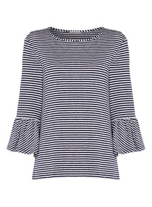 Navy Striped Fluted Sleeve Top