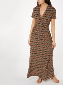 Multicoloured Wrap Front Maxi Dress