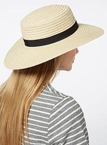 Natural Black Band Boater Hat