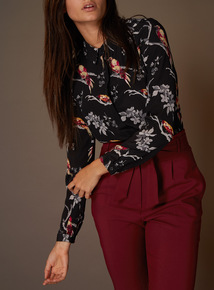 Premium Bird Print Silk Shirt