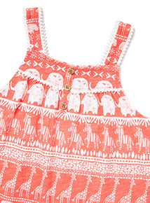 Red Safari Border Print Jumpsuit (9 months-6 years)