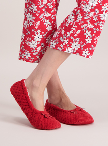Red Waffle Ballerina Slippers