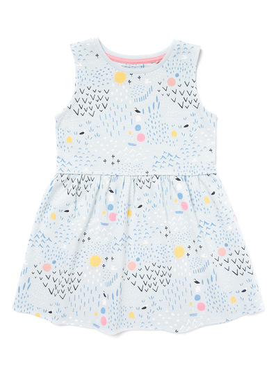 Multicoloured Printed Sleeveless Dress (9 months-6 years)