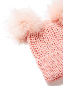 Pink Pom Pom Hat and Mittens Set ( 3 -12 years)