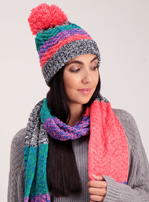 Multicoloured Knitted Pom-Pom Hat