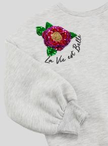 Grey Sequin Flower Sweatshirt (3-14 years)