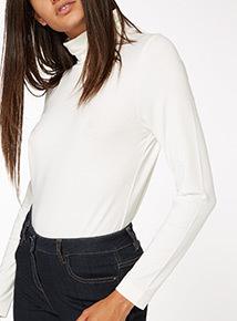 Cream Long Sleeve Plain Roll Neck