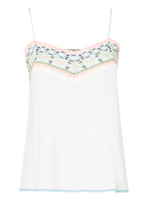 White Embroidered Cami Top