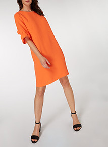 Coral Frill Sleeve Dress