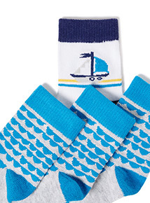 4 Pack Blue Patterned Socks (0-24 months)